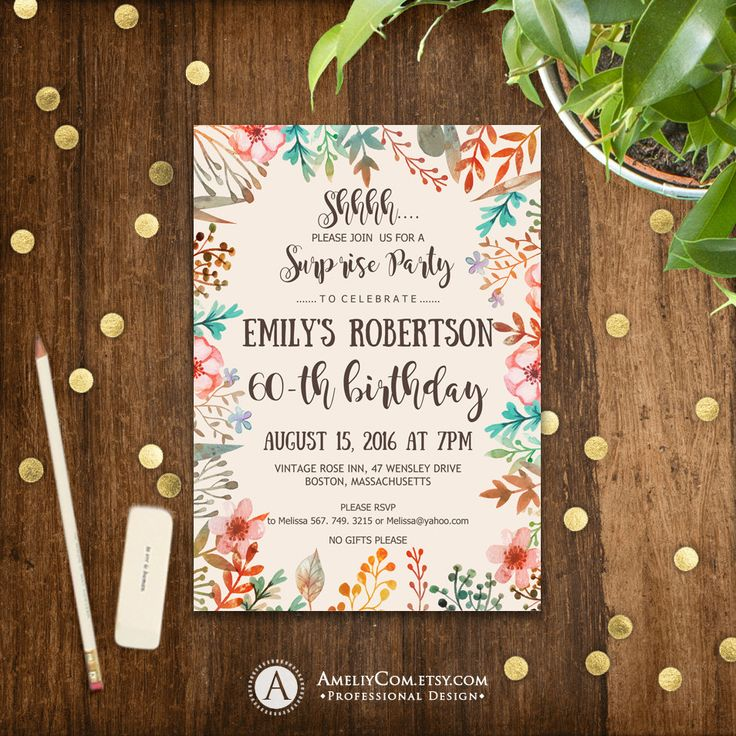 Printable Fall Surprise Birthday Invitations 60th Birthday Party Invites INSTANT DOWNLOAD Editable PDF Adult Rustic Birthday Invite Any Age