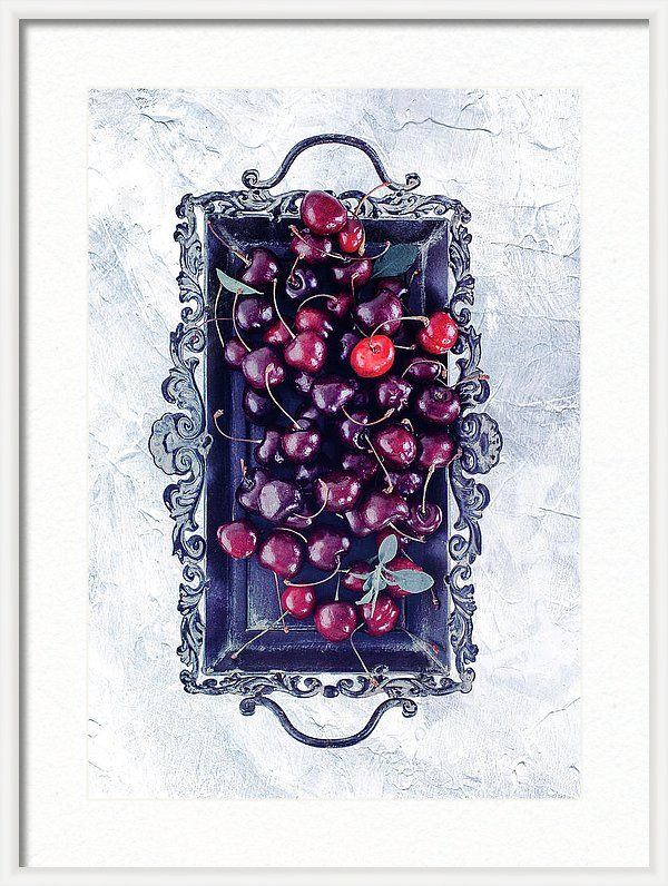 White Framed Print featuring the photograph Winter Cherry by Oksana Ariskina Red berry on a antique tray on a white marble, stucco, plaster textured background. Available as mugs, posters, greeting cards, phone cases, throw pillows, framed fine art prints, metal, acrylic or canvas prints, shower curtains, duvet covers with my fine art photography online: www.oksana-ariskina.pixels.com #OksanaAriskina