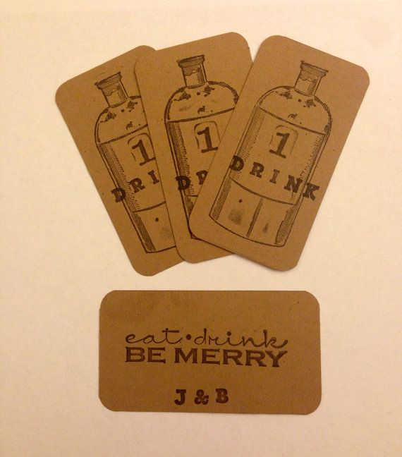Wedding drink tickets w/ personalized initials