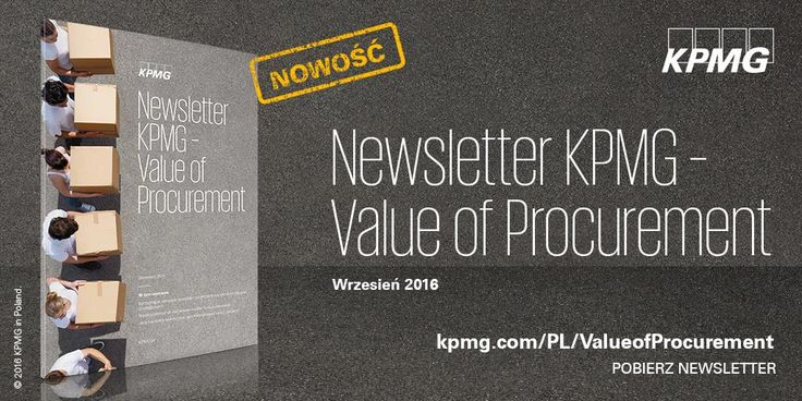 Newsletter KPMG - Value of Procurement→ http://bit.ly/2dzlkK3 | W inauguracyjnym wydaniu Newslettera Value of Procurement przybliżamy koncepcję kontrolingu w zakupach, jako narzędzia pomiaru i komunikacji wartości dodanej wynikającej z efektywnych procesów zakupowych.