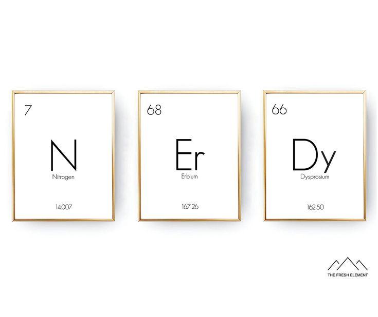 INSTANT DOWNLOAD Table Of Elements Nerdy Print Science Nerd Poster Nerdy Boyfriend Gift Nerdy Wall Art Elements Print Geek Gift Nerd Gift by TheFreshE…