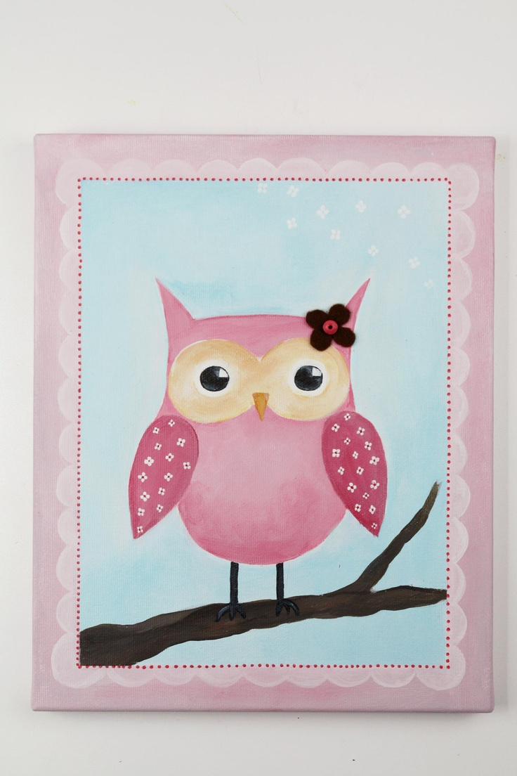 Owl baby shower decorations blue bathroom design amp decor owl - Pink Owl With Flowers Personalized Custom Canvas Name Painting Owl Baby Shower Decoration Nursery Wall Decoration Baby Girl