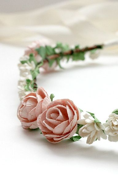 Bridal Floral Halo Wedding Flower Crown Pink