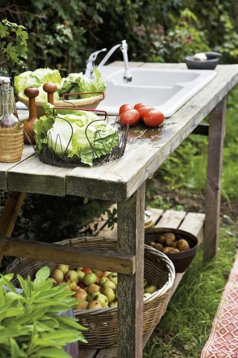 Outdoor garden sink and workspace.                                                                                                                                                      More