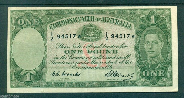 AUSTRALIA STAR PREDECIMAL BANKNOTE £1 COOMBS-WATT R31S VF STARNOTE V UNC $88,000
