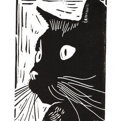 black cat titled curiosity linocut print