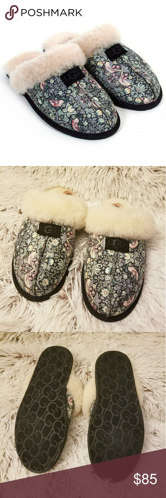 UGG Scuffette Liberty Floral Slipper RARE sz 8 NWT Ugg australia scuffette liberty sheepskin slipper blush floral - ugg women slippers (black) - ugg women shoe in collaboration with iconic liberty art fabrics, ugg presents the scuffette slipper adorned with the 'strawberry thief' print. originally designed by william morris in 1883, strawberry thief is a classic print that incorporates ornate birds and delicate blossoms.   Size 8 NEW WITH TAGS  Perfect gift for you or anyone else on your…