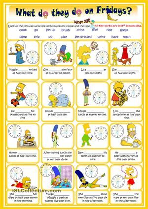 Complete with the correct verb and write them in 3rd person singular. :) - ESL worksheets