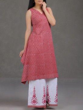 Red Khari Block-Printed Cotton Mul Kurta