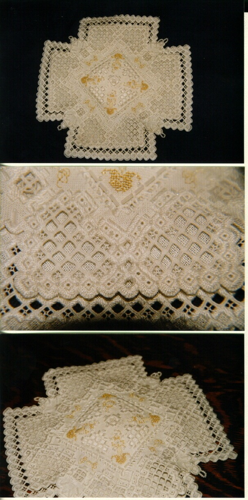 Made this ring bearer's pillow for a friend for her wedding. Hardanger embroidery.