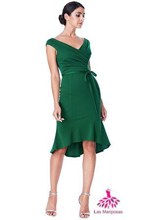 Olivia pleated σμαραγδί φόρεμα με ζώνη
