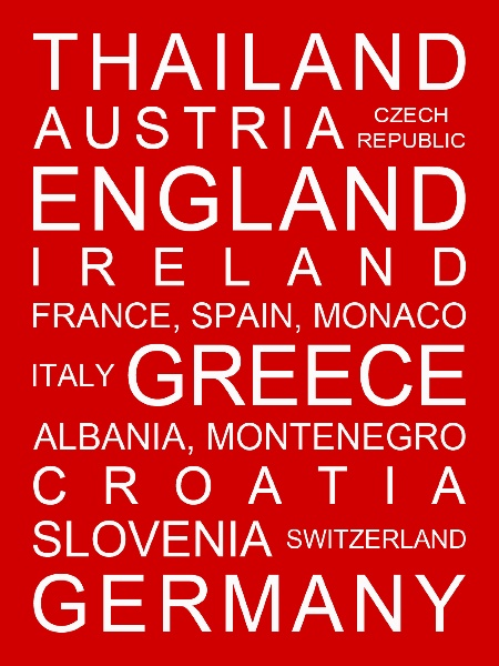 Personalised bus scroll showing holiday destinations. Personalise with your own destinations. Any colour, any size, be creative….