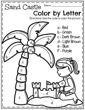 Preschool Color by Letter Worksheets for Summer
