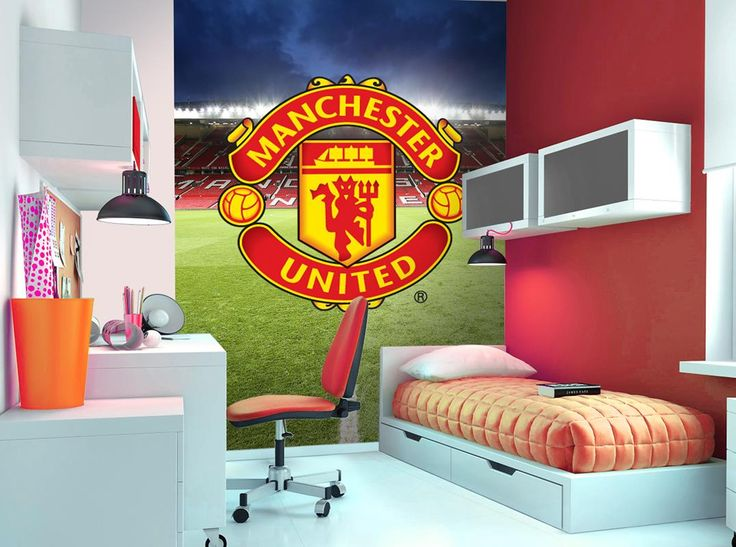 1000 images about licensed wall murals everyone will love for Man u bedroom ideas