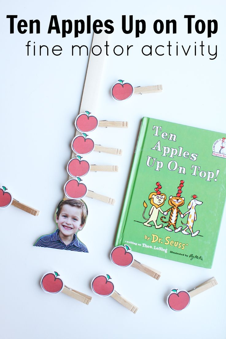 Super fun fine motor activity to go along with the book Ten Apples Up on Top by Dr. Seuss!  Adding a picture of each child at the bottom makes it even more awesome!
