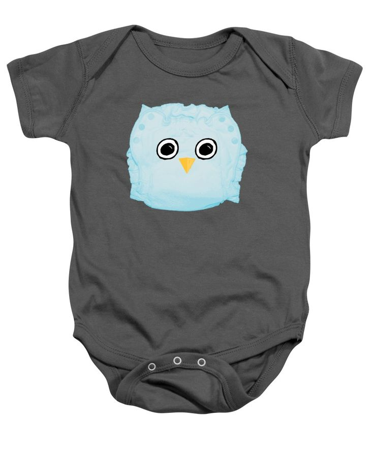 Cloth Diaper Baby Onesie featuring the mixed media Blue Cloth Diaper Owl by Sverre Andreas Fekjan