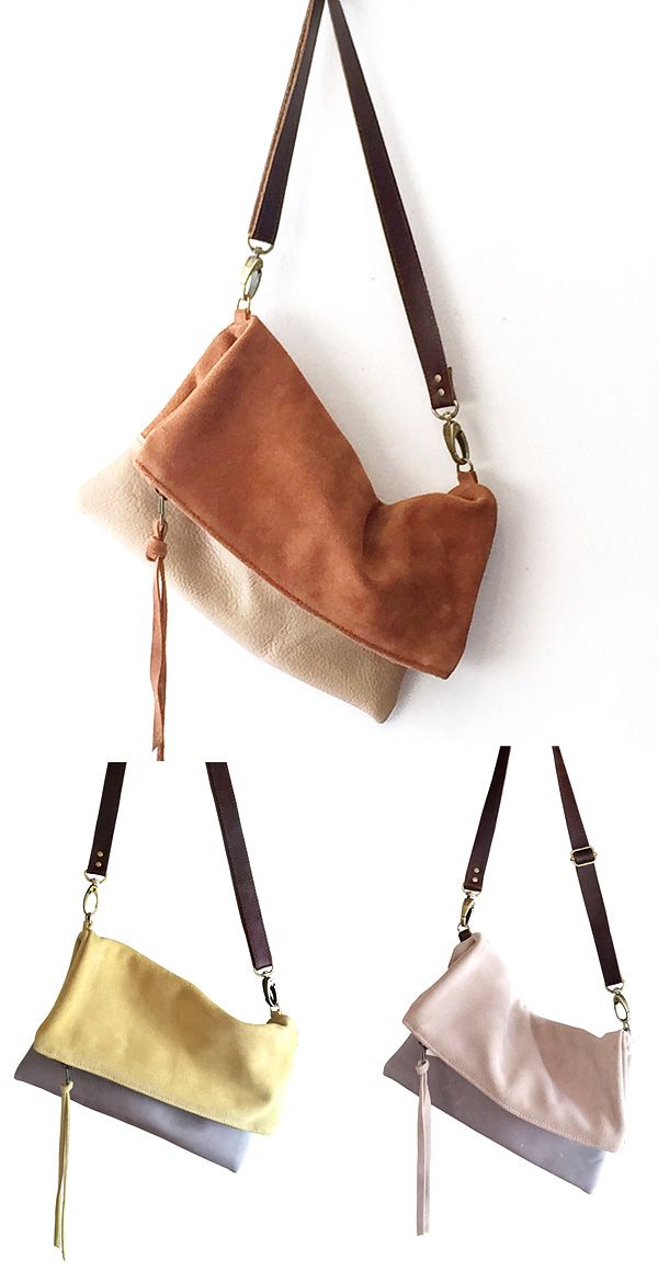 Minimal in design and especially versatile, this suede crossbody bag is fit to carry all of your essentials and accessories. The foldover style features ample space in the main compartment, almost doubling in size when worn unfolded. Keep the strap short to wear it on the shoulder, adjust it long to wear it slung crossbody or remove it altogether to use it as a handheld clutch.