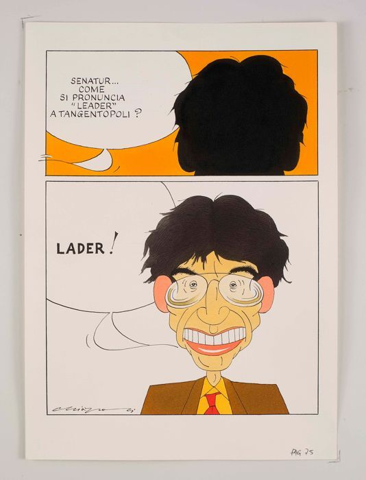 Chiappori Alfredo - originele plaat voor Panorama (1992)  Originele aquarel gerealiseerd voor Panorama 28 juni 1992.Ondertekend (linksonder)Afmetingen: 225 x 315 cmIn goede conditieHerkomst: direct van de kunstenaarVerzending via pakketpostAlfredo Chiappori (Lecco 1943) is een Italiaanse kunstenaar bekend om zijn satirische tekeningen actieve uit de late jaren 1960. Hij werkte samen met vele tijdschriften zoals Linus en Epoca en Italiaanse kranten. Hij heeft ook gewerkt als een schrijver…