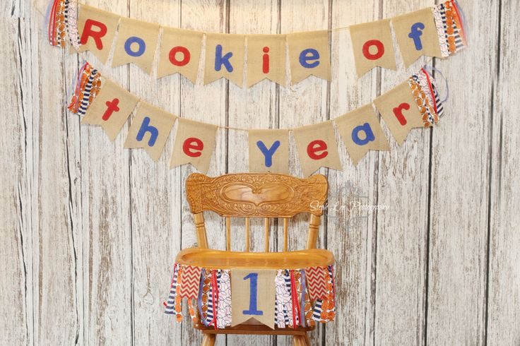 SET Rookie of the Year 1st First Birthday Banners, Rookie of the Year High Chair Banner, Sports Birthday, Baseball, Basketball, Football by PhotograMomProps on Etsy https://www.etsy.com/listing/279471388/set-rookie-of-the-year-1st-first