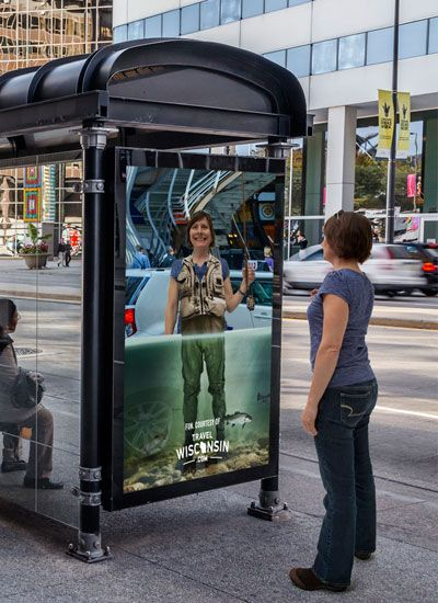 Clever use of guerrilla advertising to convey a message. It makes the person interact, and gets them thinking more about vacationing in Wisconsin.  http://www.arcreactions.com/