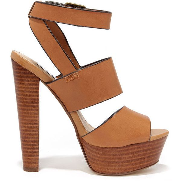 Steve Madden Dezzzy Tan Leather Platform High Heels (£85) ❤ liked on Polyvore featuring shoes, sandals, heels, chaussures, footwear, buckle strap sandals, leather platform sandals, strap heel sandals, tan block heel sandals and high heels sandals