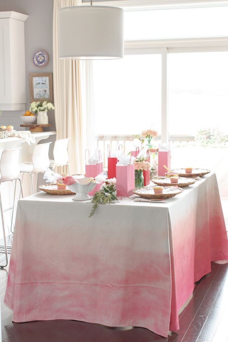 Kidu0027s Valentineu0027s Day Party   Pink Ombre Tablecloth Made From A Drop Cloth