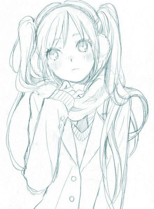 ✮ ANIME ART ✮ girl. . .coat. . .scarf. . .earmuffs. . .cold. . .blushing. . .long hair. . .twin tails. . .moe. . .drawing. . .doodle. . .pencil. . .graphite. . .cute. . .kawaii: