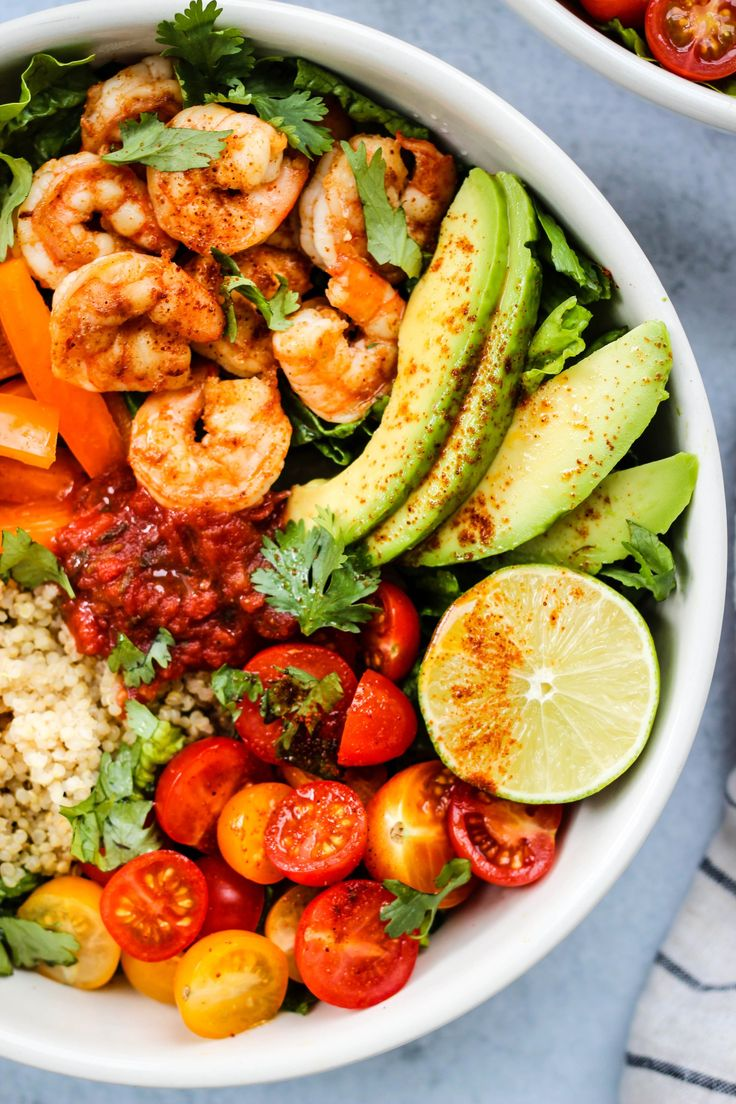 This healthy Shrimp Taco Salad Bowl is made with simple ingredients like quinoa, avocado, cilantro, and lime. Refreshing…