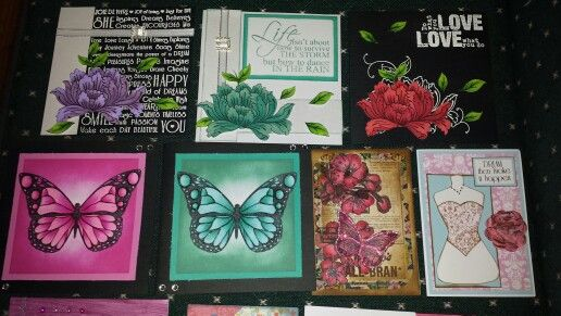Lots of cards I made with kaszazz products