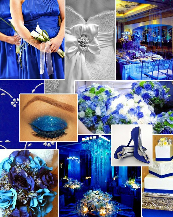 Boda de Color Azul, Vestido de Novia Blanco y Vestidos de Damas Azules. Todo en color azul!