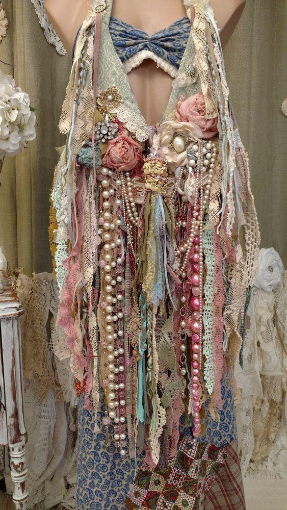 Handmade Fabric Lace Crochet Fringe Bag Hippie Boho Vintage Jewelry Purse tmyers #HandmadebyTraciMyersMe #ShoulderBag