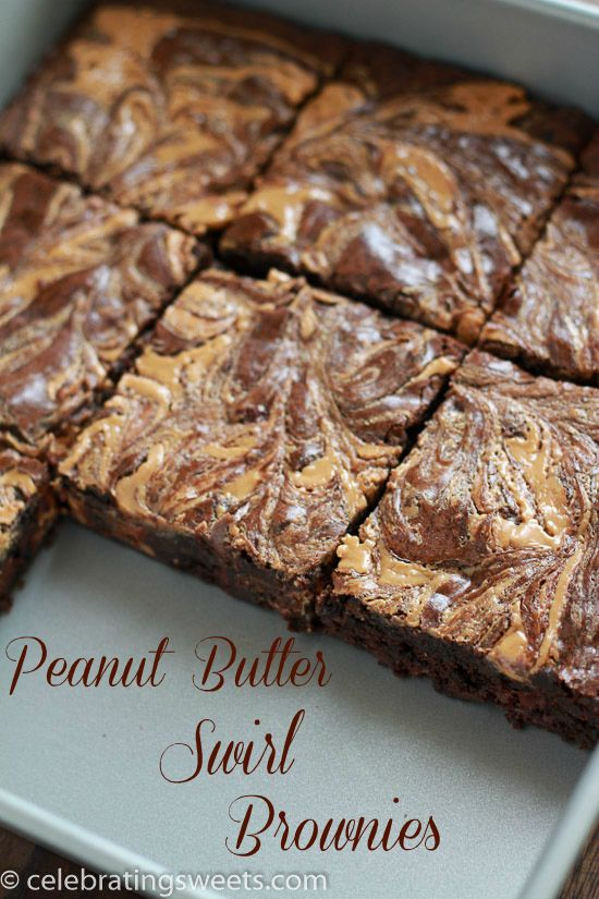 Rich fudgy brownies filled with peanut butter cups and topped with a peanut butter swirl