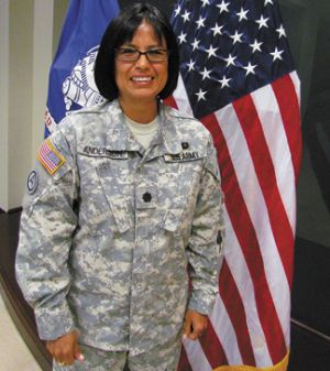 """She's among the Army's first members from Navajo tribe. Despite her five foot-one-inch frame, Lt.Col. Nathele Anderson stands tall as a Native American serving her country. """"I take every opportunity I can to tell people that I am a Native American because I'm proud of my heritage. I want people to ask about being a Native American because I don't think there's enough emphasis put on our heritage as this nation's first Americans,"""" she said."""