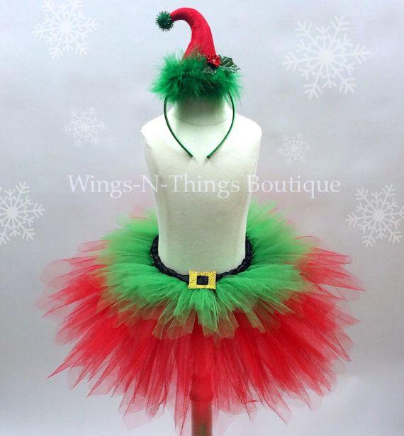 ADULT CHRISTMAS ELF Tutu Skirt Set w/ Elf Hat Headband, Women's Costume, Photo…