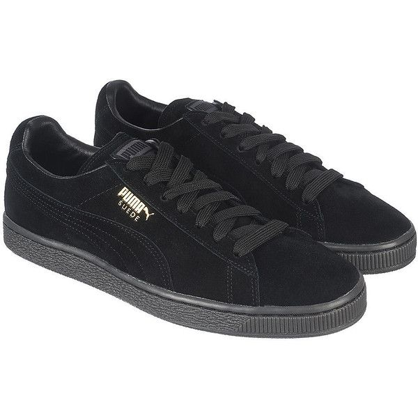Puma The Suede Classic + Mono ICE Sneaker in Black ($50) ❤ liked on Polyvore featuring shoes, sneakers, black, black lace up sneakers, puma footwear, black suede shoes, black trainers and black shoes