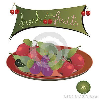 #Plate with #apples, #plums, #pears and a #panel with #cherries and the #message: #fresh #fruits; and a #bio emblem