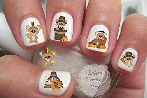 Thanksgiving Thankful Squeaks Nail Art Decals >>> Click image for more details.