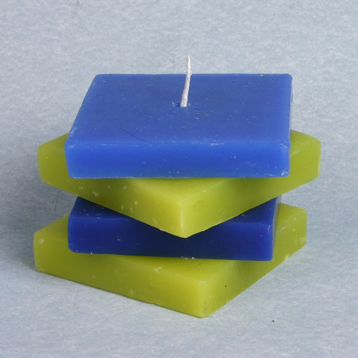 Multi - Layer Square Scented Candle  Green and Blue  £15.50, Free delivery