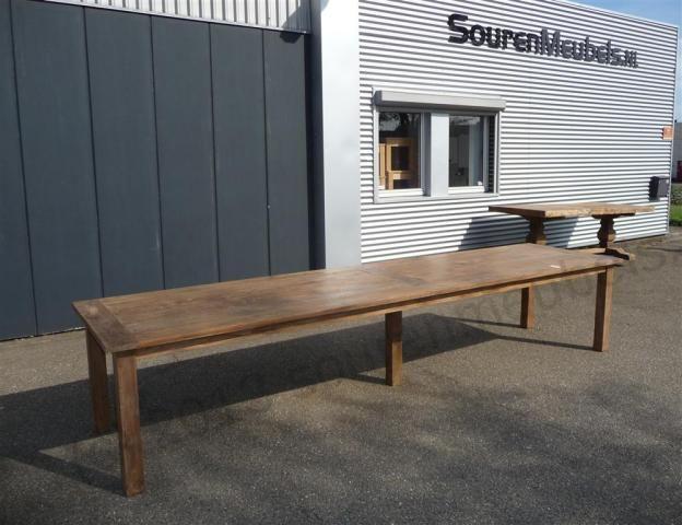Teak tafel oud hout 400 x 100 afbeelding 1