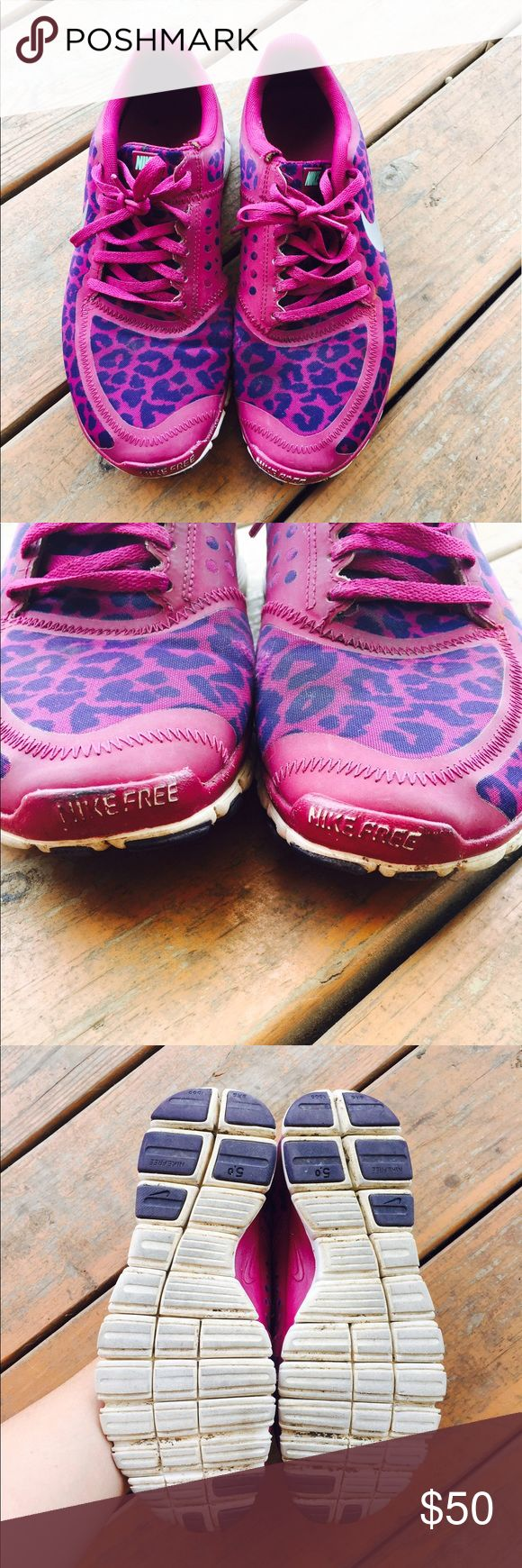 Limited edition cheetah print purple free runs 8.5 Women's 8.5 Nike free runs  Limited edition purple cheetah print  Good used condition  Runs small if you normally wear a 8 this is a good size for you  Lightweight great walking gym shoe Nike Shoes Sneakers