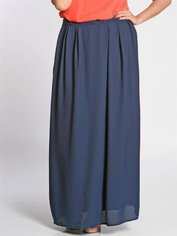 Falda larga de color azul marino en talla grande de SPG