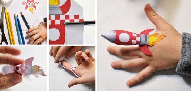 Cohete espacial de papel [con plantilla para descargar]