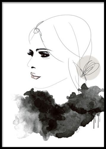 Art poster with illustration of a woman in profile.  Looks good paired with several of our text posters and other fashion prints. Desenio.co.uk