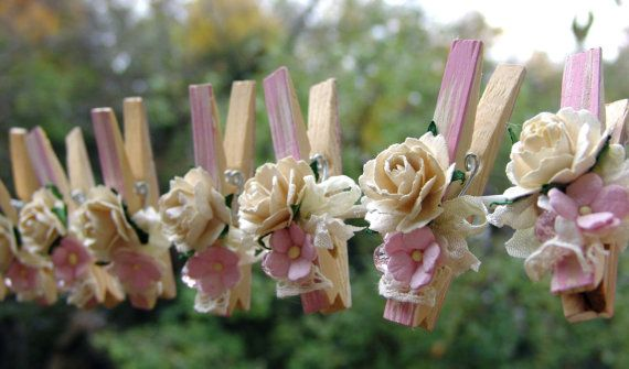 Shabby Chic Nursery decorated Clothes Pins Decorated by ilovethis