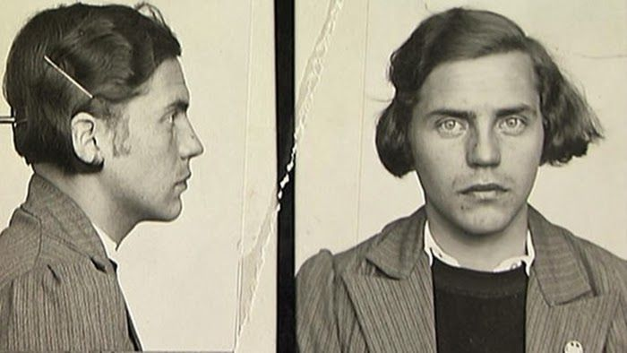 Dora Ratjen mugshot. Born a male but raised as a female, Ratjen competed on the female German track team. He set a world record for the high jump at the 1938 European Athletics Championships, but competed as a female at that event. His true identity was discovered while riding on a train headed for Cologne.