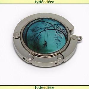 Accroche sac retro fille et arbre noir bleu turquoise resine sur metal argent