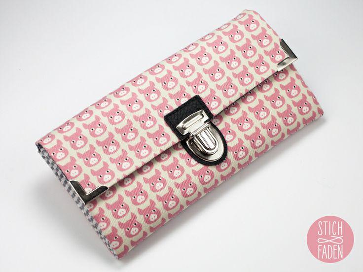 Portemonnaie Geldbörse Schweine rosa weiß schwarz von Stich & Faden auf DaWanda.com