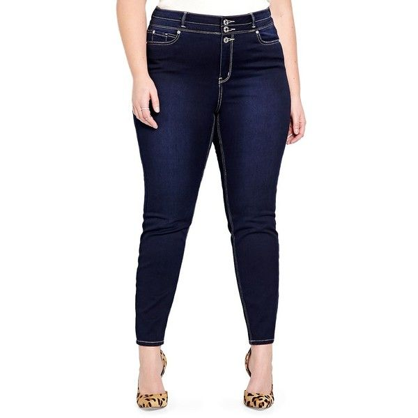 Addition Elle Love And Legend Plus High Waist Skinny Jeans ($80) ❤ liked on Polyvore featuring jeans, blue, high-waisted jeans, form fitting jeans, high rise jeans, blue jeans and cut skinny jeans