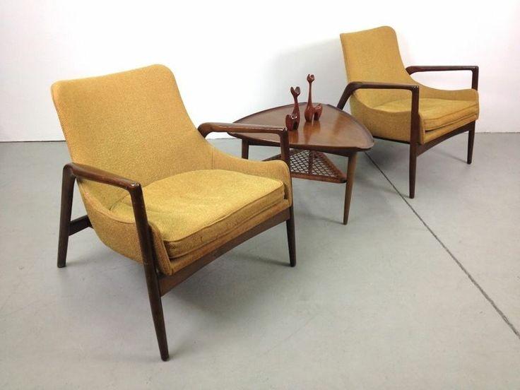 Pair Of Danish Modern Selig Kofod Larsen Lounge Chairs