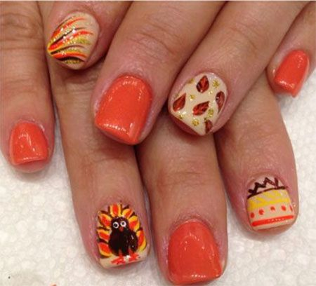 18-turkey-nail-art-designs-ideas-2016-thanksgiving- - Best 25+ Thanksgiving Nail Art Ideas On Pinterest Thanksgiving